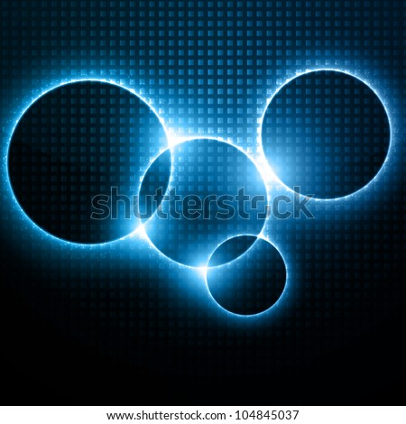 Abstract Vector Background - Light Blue Circles behind Dark Design - stock vector