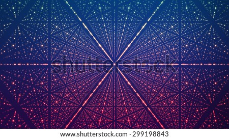Abstract vector background. Matrix of glowing stars with illusion of depth and perspective. Abstract futuristic space background. - stock vector