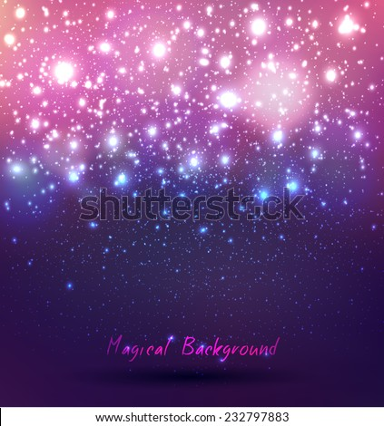 abstract vector background with a magic rain of candles with bokeh and glowing - stock vector