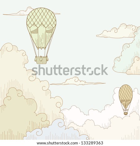 Abstract vector background with balloon and clouds. Vector illustration. - stock vector