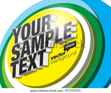 Abstract vector background with big and stunning three-dimensional title. - stock vector