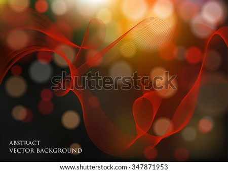 abstract vector background with bokeh effect and vector smoke - stock vector