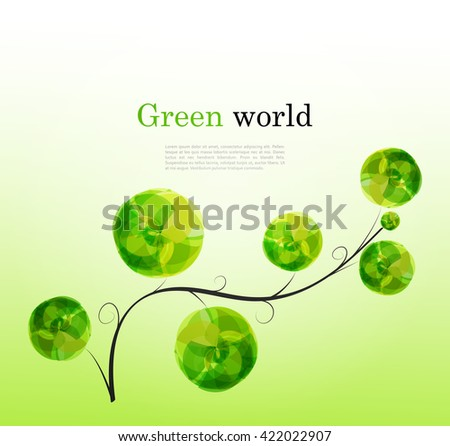Abstract vector background with branch and bright green elements for design. Ecology or bio concept  - stock vector