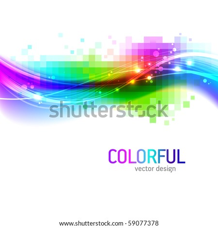 Abstract vector background with colorful wave - stock vector