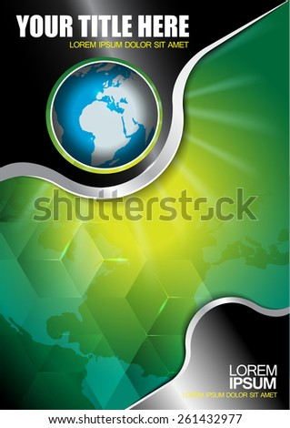 Abstract vector background with continents and globe for brochure  - stock vector