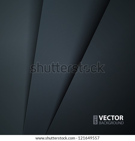 Abstract vector background with dark gray paper layers - stock vector