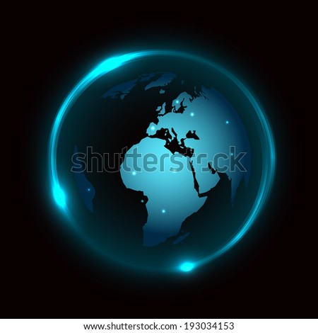 Abstract vector background with globe and blue neon light around - stock vector