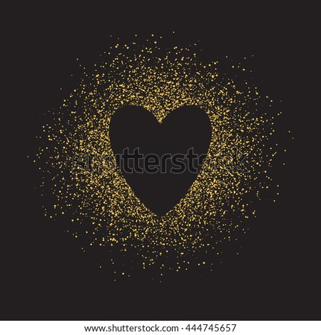 Abstract vector background with gold glitter and a shape of a heart. 100% vector - easy to use and edit. Gold sparkles isolated on white. Design for wedding card, valentine, save the date. - stock vector