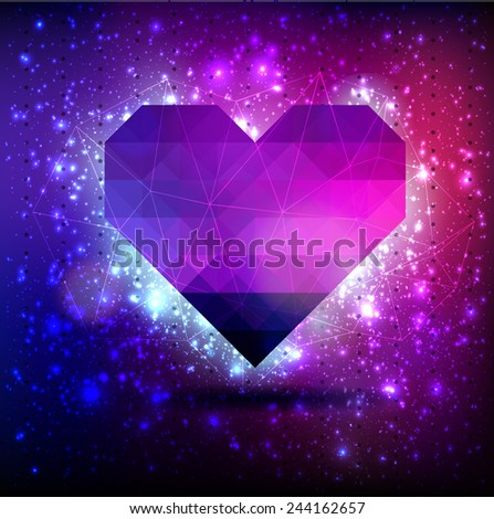 Abstract vector background with heart of triangle with lights flickering, bokeh and stars constellation cosmos - stock vector