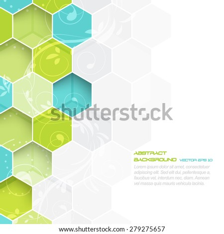 Abstract vector background with hexagonal and floral pattern/design with place for your content and creative editing  - stock vector