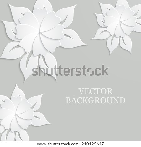 Abstract vector background with paper flowers. - stock vector