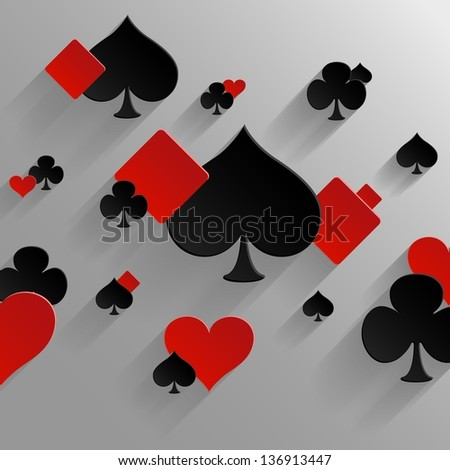 Abstract vector background with playing cards elements - stock vector