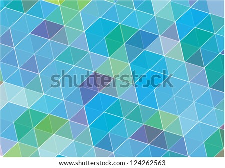 abstract vector background with symmetrical shapes in blue - stock vector