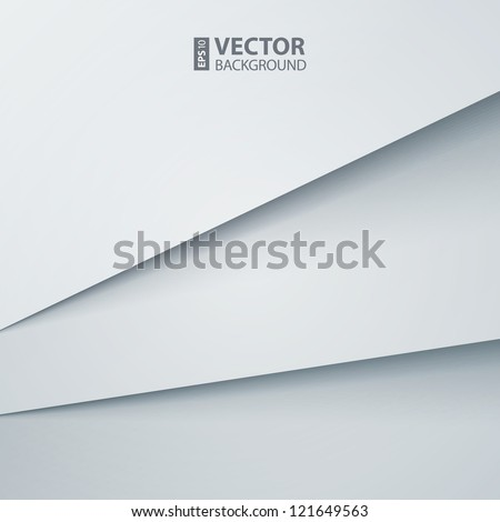 Abstract vector background with white paper layers - stock vector