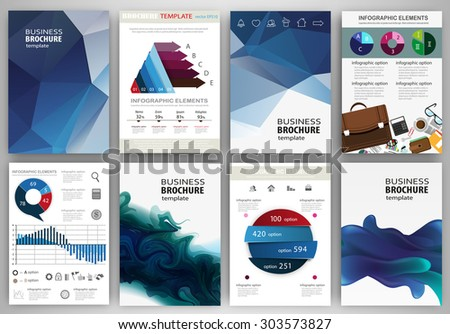 Abstract vector backgrounds and brochures for web and mobile applications. Business and technology infographic, icons, creative template design for presentation, poster, cover, booklet, banner. - stock vector