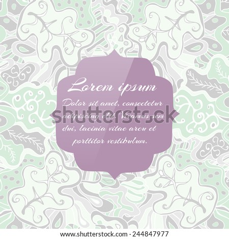 Abstract vector banner with place for text message. Simple floral design with curved lines and swirls. Colorful backdrop with waves, plants and empty space. Original greeting card. EPS10 vector. - stock vector