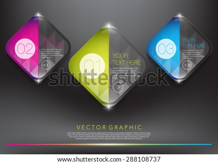 Abstract vector banners set. Coloured, glossy and transparent on the black panel. 3 parts concept. Vector illustration.  Eps10 - stock vector