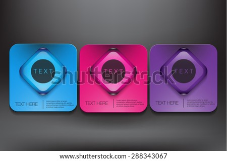 Abstract vector banners set. Three coloured cardboard with square glossy button on black panel. Vector illustration.  Eps10 - stock vector