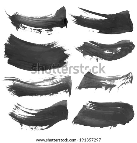Abstract vector black paint smears  - stock vector