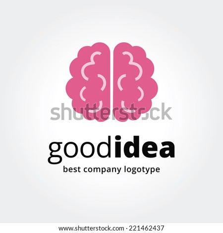 Abstract vector brain logotype concept isolated on white background. Key ideas is business, smart, thinking, brainstorm, design, education, health. Concept for corporate identity and branding - stock vector