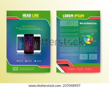 Abstract  Vector Brochure Template with smartphones. Flyer Layout. Flat Style. Infographic Elements. Vector illustration. - stock vector