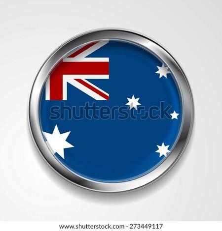 Abstract vector button with metallic frame. Australian flag - stock vector