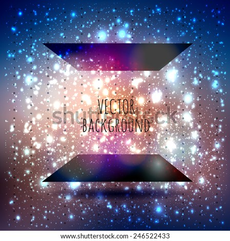 Abstract vector card with a place for text with lights flickering, bokeh and stars constellation cosmos background - stock vector