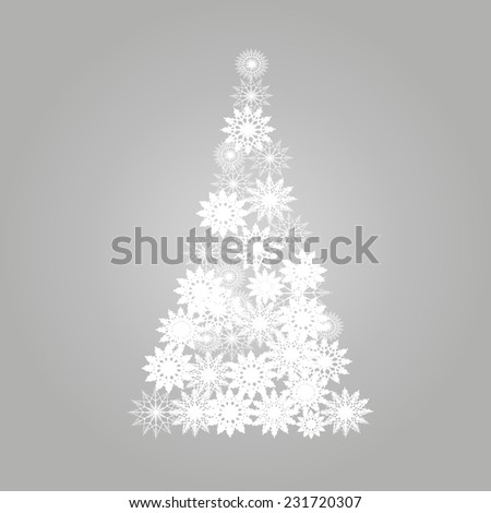 Abstract vector christmas tree from white snowflakes - stock vector