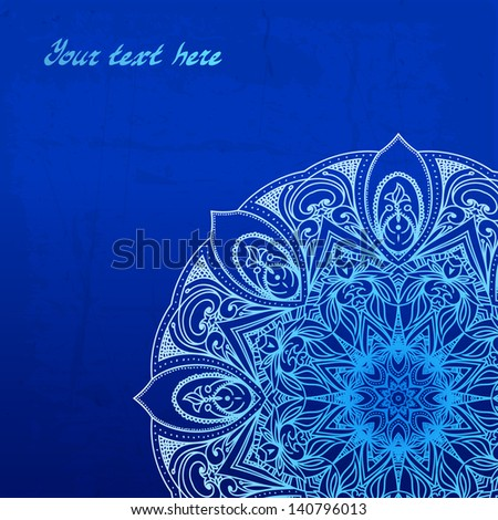 Abstract vector circle floral ornamental border. Lace pattern design. White ornament on blue background. Vector ornamental border frame. Can be used for banner, web design, wedding cards and others - stock vector
