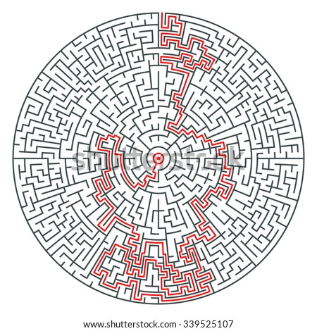 Abstract vector circle maze of high complexity with solution route. Riddle symbol - stock vector