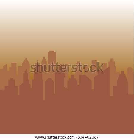 Abstract vector city in yellow and orange tones - stock vector
