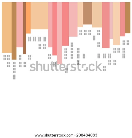 Abstract vector city with white outlines of buildings on striped red, orange and brown background - stock vector