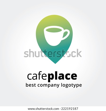 Abstract vector coffe cup marker for maps logotype concept isolated on white background. Key ideas is business, coffe, break, pause, maps, food and restaurant. Concept for corporate identity and - stock vector