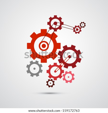 abstract vector cogs, gears isolated on grey background  - stock vector