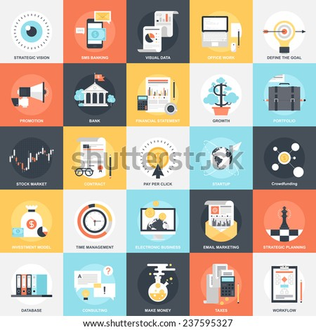 Abstract vector collection of colorful flat business and finance icons. Design elements for mobile and web applications. - stock vector