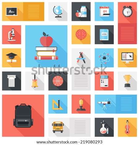 Abstract vector collection of colorful flat education and knowledge icons with long shadow. Design elements for mobile and web applications. - stock vector
