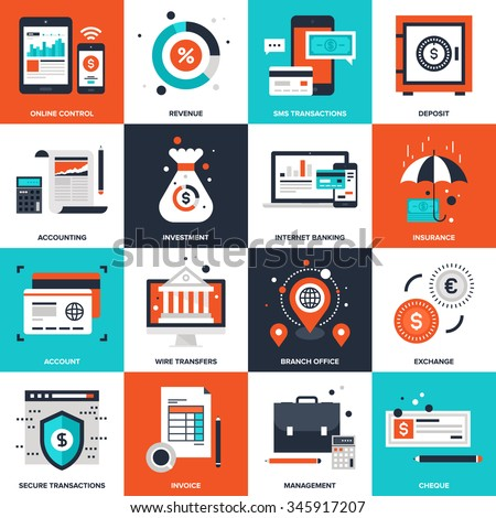 Abstract vector collection of flat banking and money icons. - stock vector