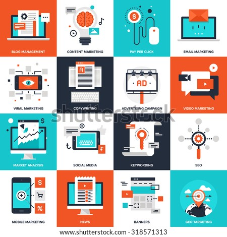 Abstract vector collection of flat digital marketing icons. Elements for mobile and web applications. - stock vector