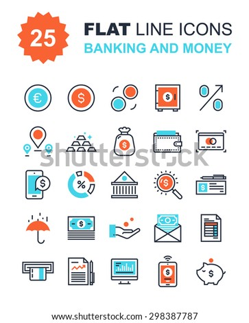 Abstract vector collection of flat line banking and money icons. Elements for mobile and web applications. - stock vector