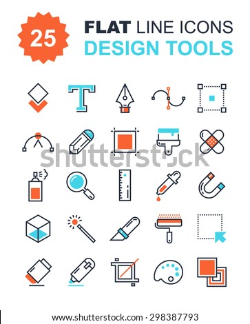 Abstract vector collection of flat line design tools icons. Elements for mobile and web applications. - stock vector