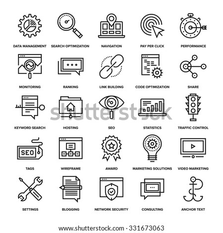 Abstract vector collection of line SEO and web optimization icons. Elements for mobile and web applications. - stock vector