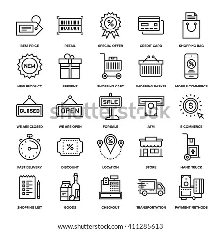 Abstract vector collection of line shopping and retail icons. Elements for mobile and web applications. - stock vector