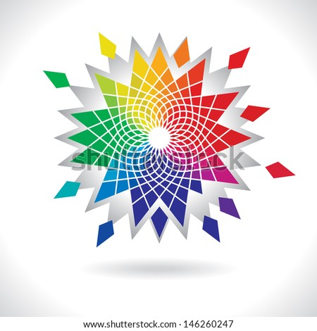 Abstract Vector Color Flower Wheel on White Background, Circle Colorful Elements - stock vector