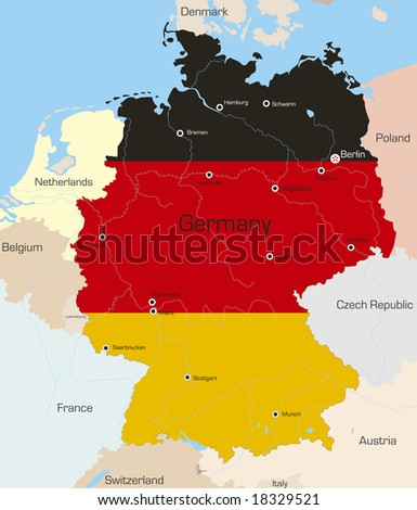 Abstract vector color map of Germany country coloured by national flag - stock vector