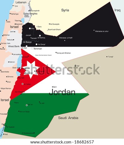 Abstract vector color map of Jordan country colored by national flag - stock vector