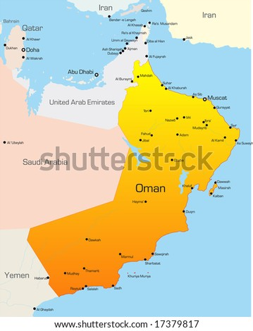 Abstract vector color map of Oman country - stock vector