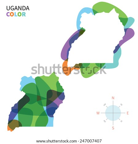 Abstract vector color map of Uganda with transparent paint effect. For colorful presentation isolated on white. - stock vector
