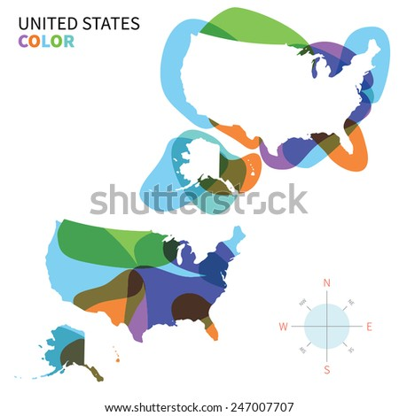 Abstract vector color map of United States with transparent paint effect. For colorful presentation isolated on white. - stock vector