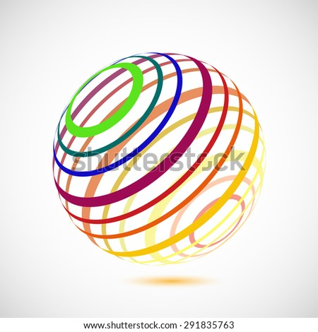 Abstract vector colorful sphere - stock vector
