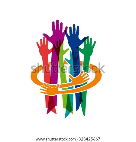 Abstract vector Colorful Teamwork. Make and protect a friendship - stock vector